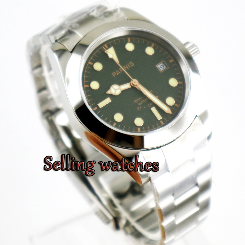 40mm Luxury Parnis Green Dial Stainless Steel Sapphire Glass Miyota Automatic Movement Men's Watch 40mm parnis white dial automatic miyota movement sapphire glass mens watch p292