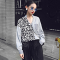 [XITAO] 2017 original design spring female new European style loose v-neck personality splicing stripe long-sleeved blouse XH001