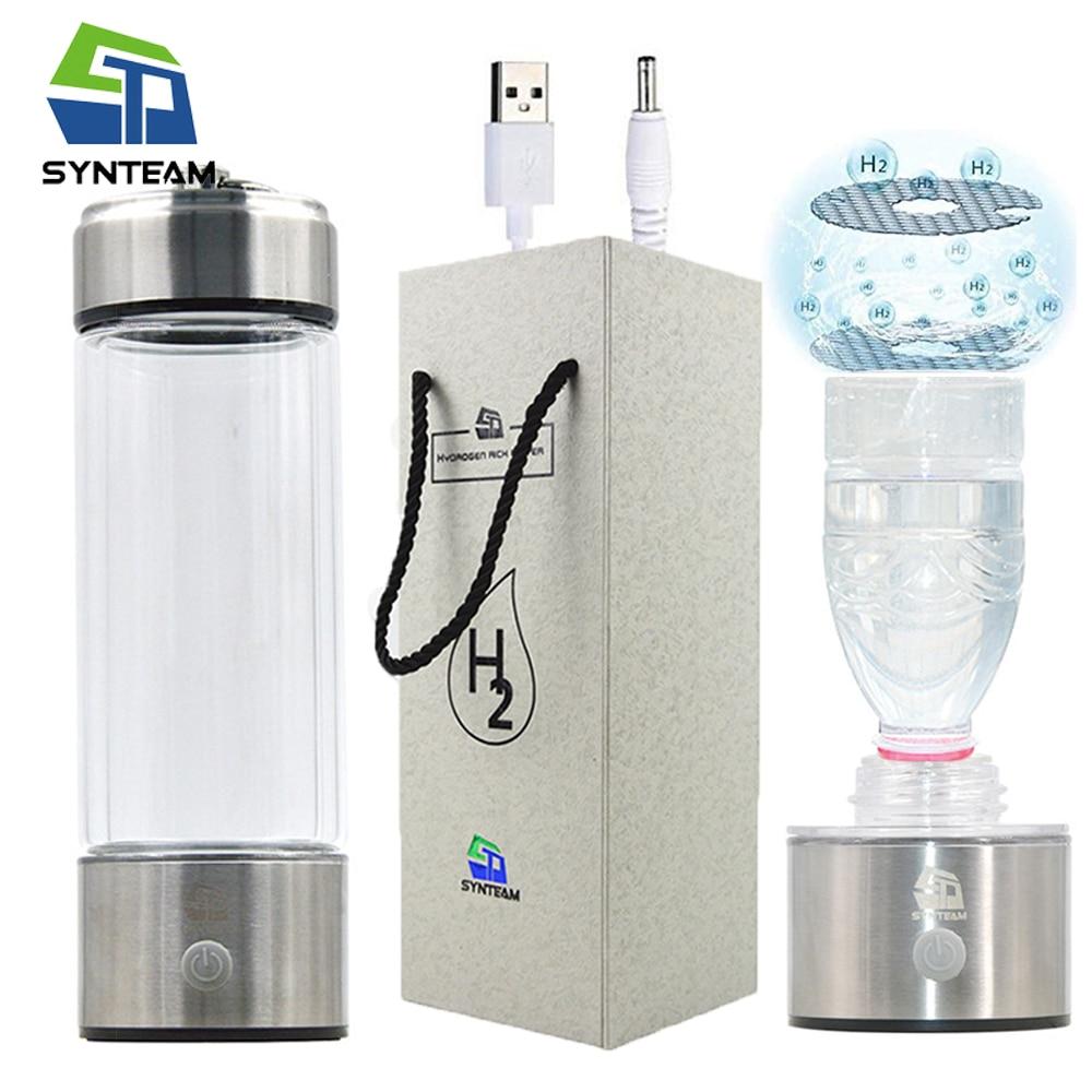 PEM Technology Hydrogen Water Bottle Glass Alkaline Water Ionizer Adapter 380ml USB Portable Hydrogen Generator Outdoor Sport