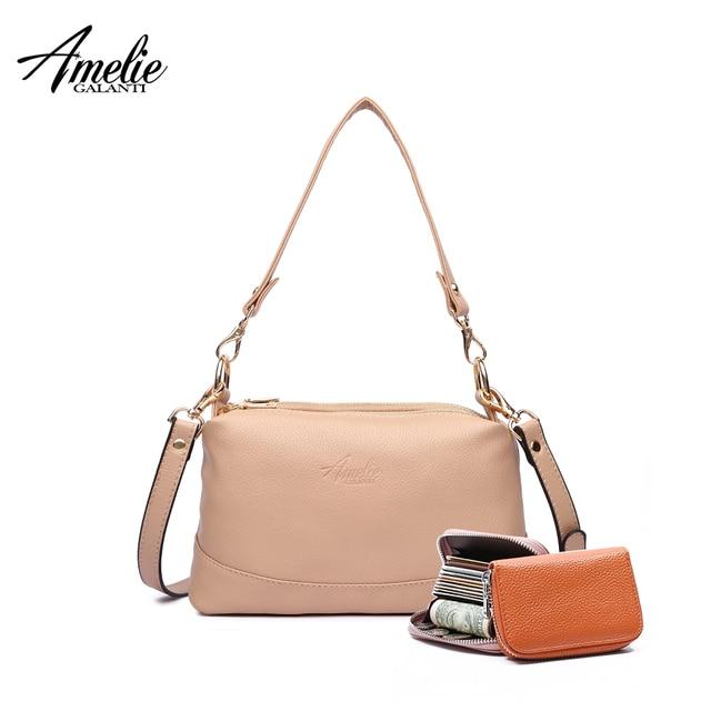 AMELIE GALANTI Mulheres sacos de ombro mensageiro crossbody bag ladies PU bolsa de couro feminina moda contínua pequena sacola bolsa