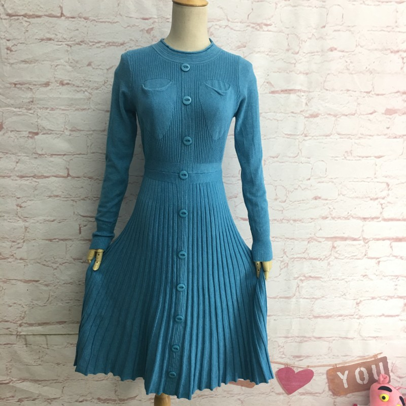 8d119d9db5cca US $28.49 |Spring Autumn Slim Knitting Below Knee Dress O Neck Long Sleeved  Buttons Pockets Stretch A line Flounced Knit Knee Length Dress-in Dresses  ...