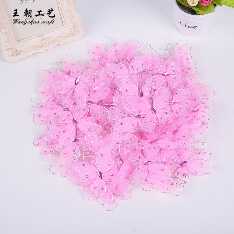 12pcs/lot Pink Nylon butterfly wire butterflies wedding Party DIY decoration baby shower Anniversary Childrens Day gift 8 cm