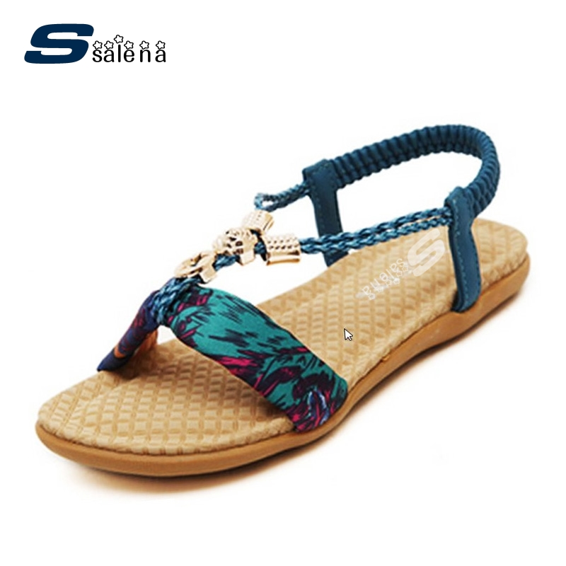 Female Summer Shoes Women Sandals 2017 Fashion Bohemia Flat With Floral Pregnant Women Beach Shoes Big Size EU35-43 B2755 female sandals summer 2017 new genuine leather women sandals flat pregnant women casual students shoes female