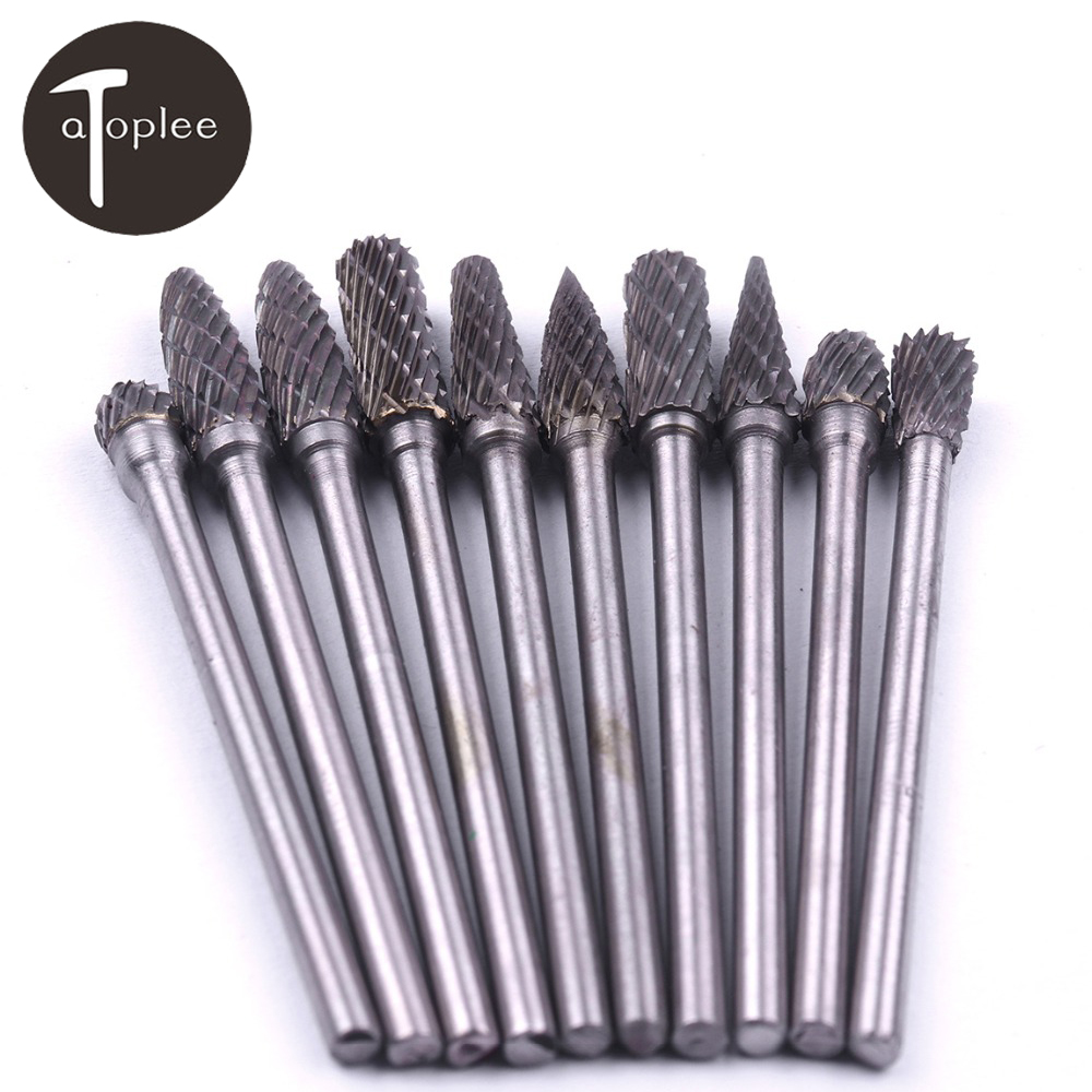 US $15 83 16% OFF 10pcs 2 35mm Tungsten Carbide Rotary Burr Cutter Set For  Dremel Rotary Tools 4mm Blade File Milling Cutter Engraving Bits-in Files