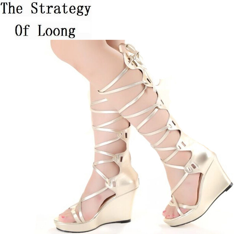 Wedges High Heels Lace Up Knee High Gladiator Sandals Boots 2017 New Arrival Open The Toe Cut Out Women Summer Boots gorgeous black open toe side lace up knee high summer sandal boots 2017 new back zipper hollow out gladiator sandal summer heels