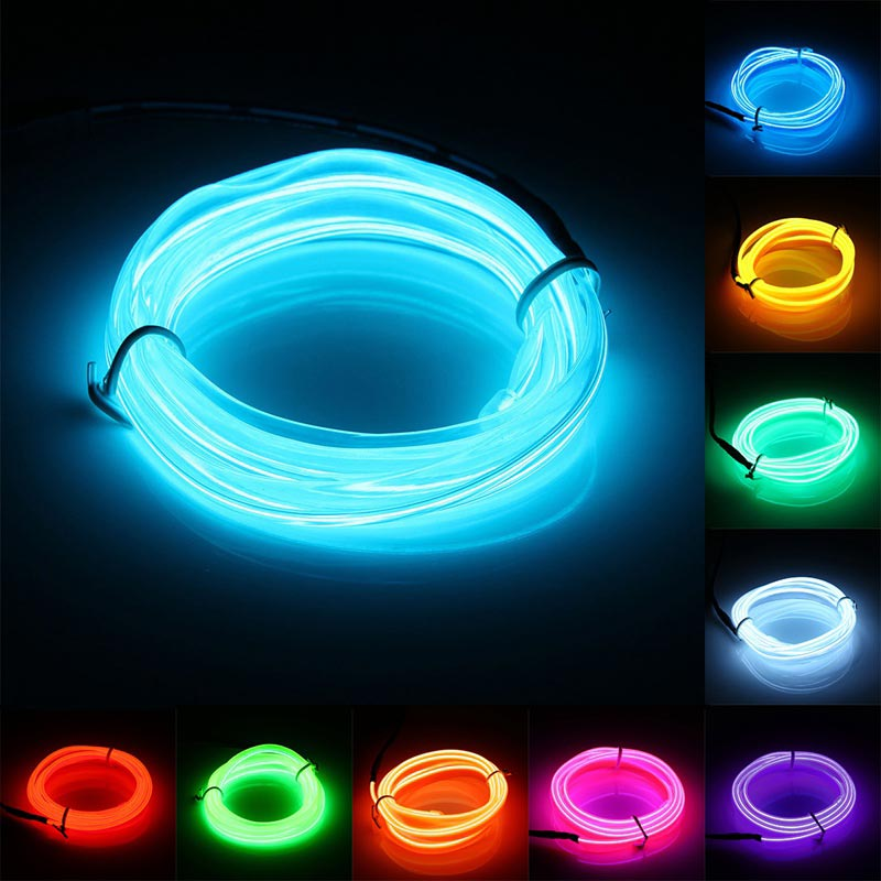 1M Led Flexible EL Wire Neon Lights Glow Lamp Light Strip Festival Party House Home Decorations Strip Lights String Lamp