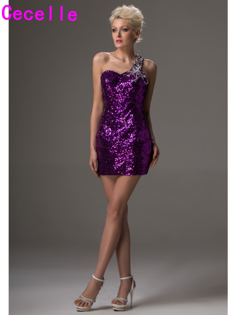 Sexy Open Back Purple Sequins Cocktail Dresses One Shoulder Beaded