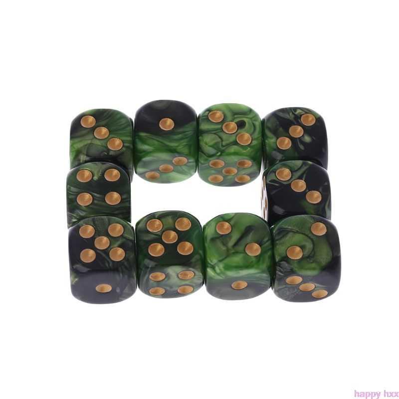 Новые 10 шт. 16 мм игральные кубики из каучука D6 черные зеленые золотые точки закругленные края KTV бар ночной клуб развлекательные инструменты игрушки для взрослых