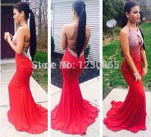 2015 sexy backless new Gorgeous Crystal Beaded Prom Dresses Sheer Scoop Neck Sleeveless mermaid Evening Gowns Pageant Dress