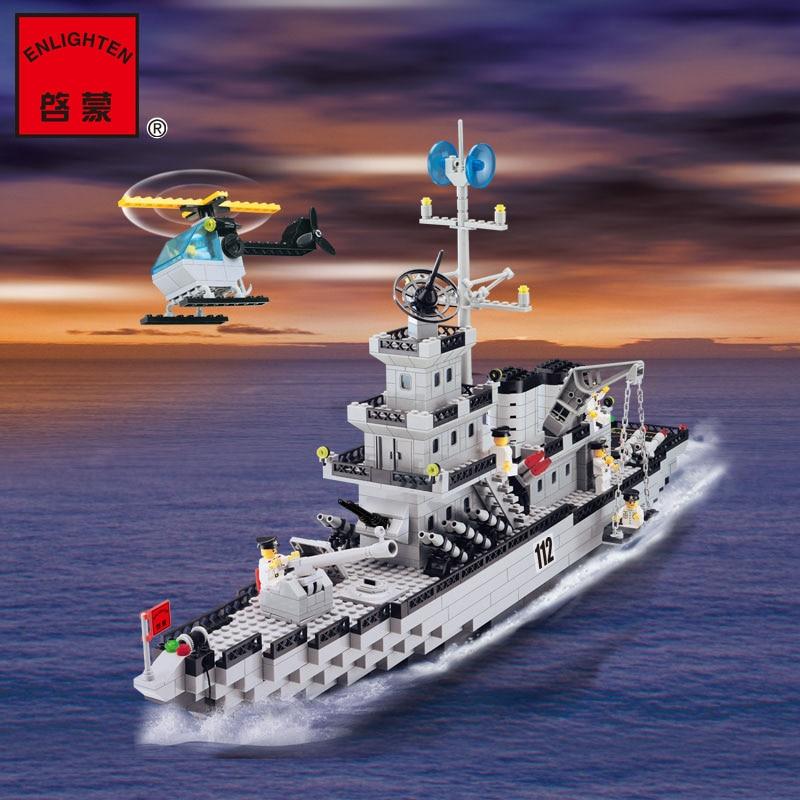 ENLIGHTEN Military Education Blocks Toys Children Gifts Military Boat Destroyer Weapon Compatible legoe lego education 9689 простые механизмы