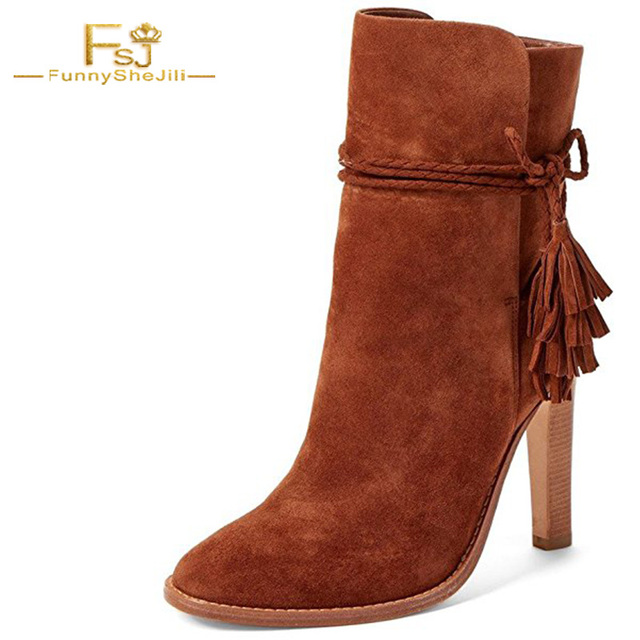 Brown Ankle Boots Suede High Thick Heel Shoes Women Elegant Buckle Fringe  Sexy Outdoor Spring Boots Woman FSJ Large Size 14 570b094f1f