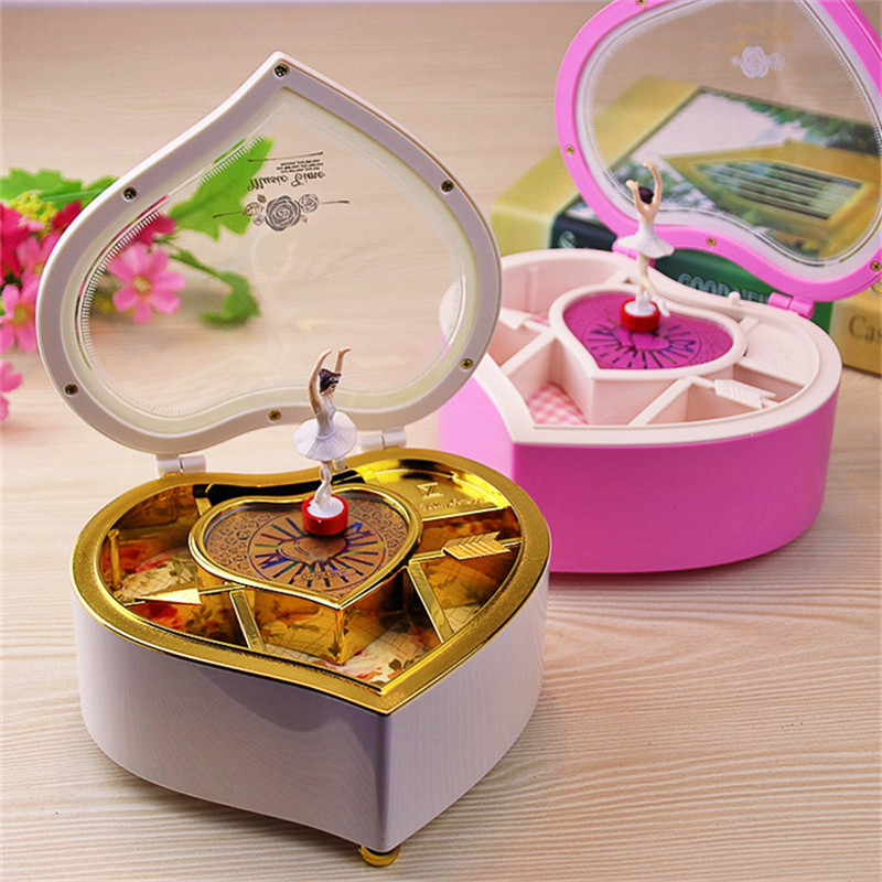Heart shaped dance ballerina music box jewelry box plastic girl crank mechanism music box gift turntable birthday music box