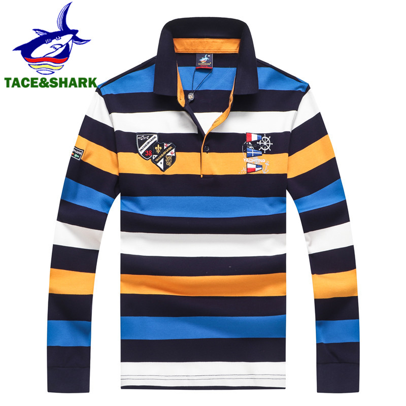 TACE&SHARK Brand Hot Sale Fashion Stripe Shark Embroidery Long Sleeve   Polo   Tops Men Slim   Polo   Casual Business Homme Clothes