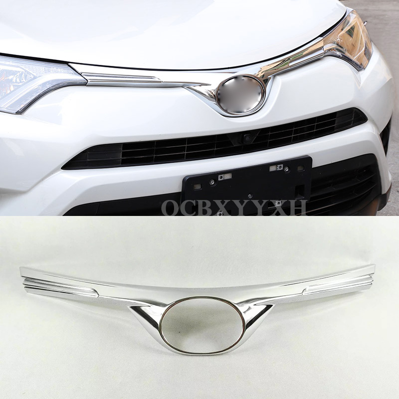 Car Styling Front Grille Cover Decoration Trim Strips Abs Chrome Exterior Accessories For Toyota