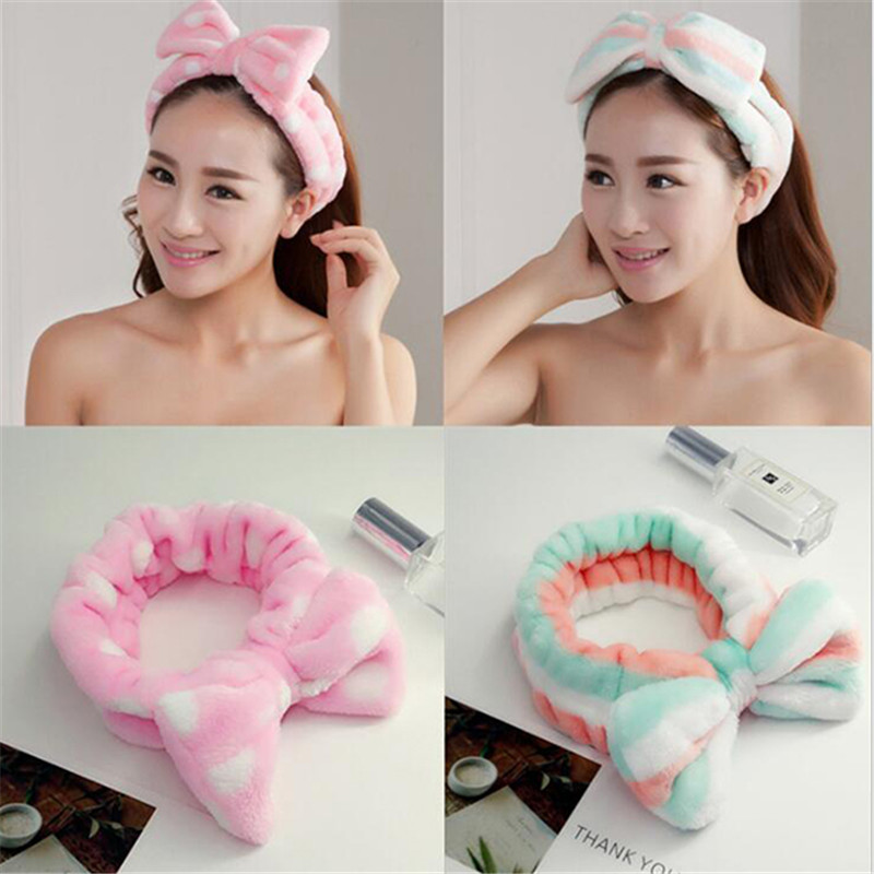 Lovely Girls Soft Velvet Makeup Headband Bow Dots Striped   Headwear   Shower Wrap Headbands for Face Washing Hair Accessories