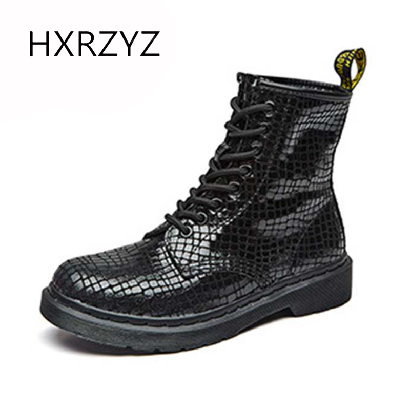 HXRZYZ women's ankle Martin boots female spring/autumn lace-up genuine leather boots women new fashion grid stripe ladies shoes цены онлайн