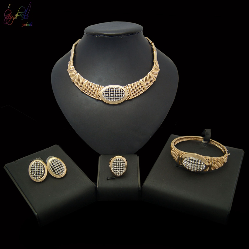 YULAILI 2018 New Coming Gold Colour Necklace Bracelet Earrings Ring 4 Piece Jewelry Set for Ladies Costume