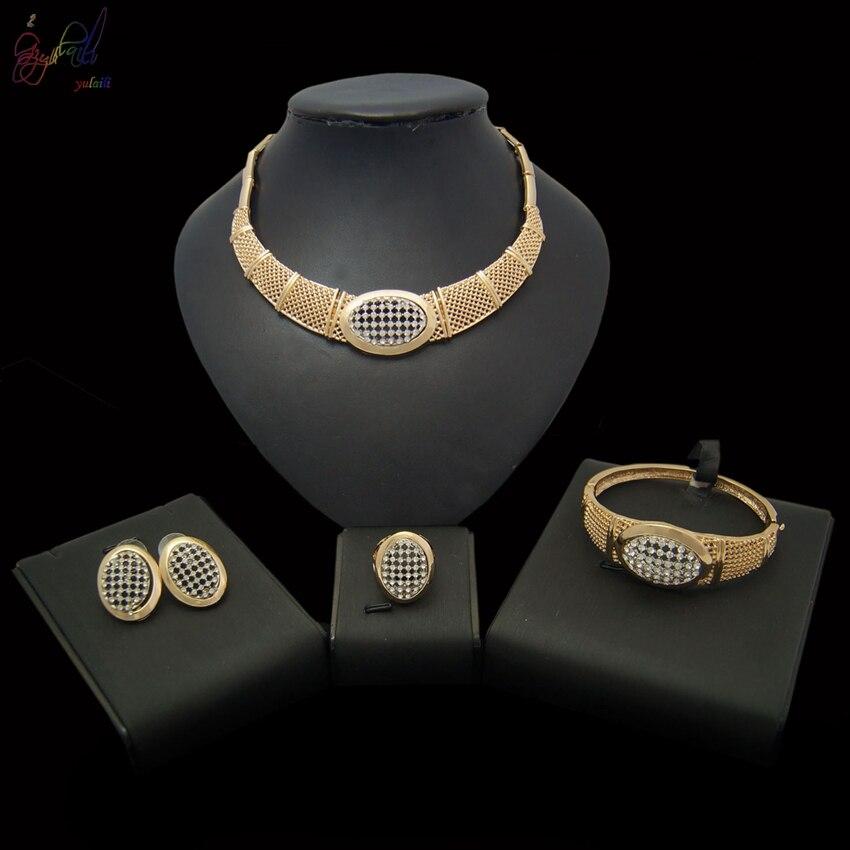 YULAILI 2018 nouvelle venue couleur or collier Bracelet boucles d'oreilles anneau 4 pièces ensemble de bijoux pour dames Costume