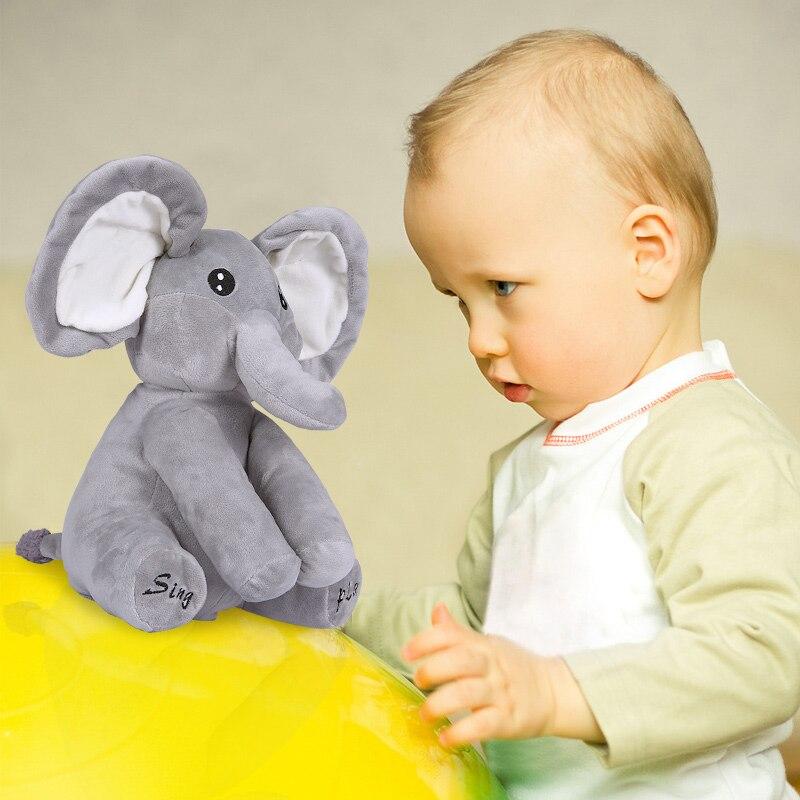 Venta al por mayor elefante peluche cantar y jugar elefante peluche juguetes interactivo divertido muñeca Kawai Animal juguetes electrónicos
