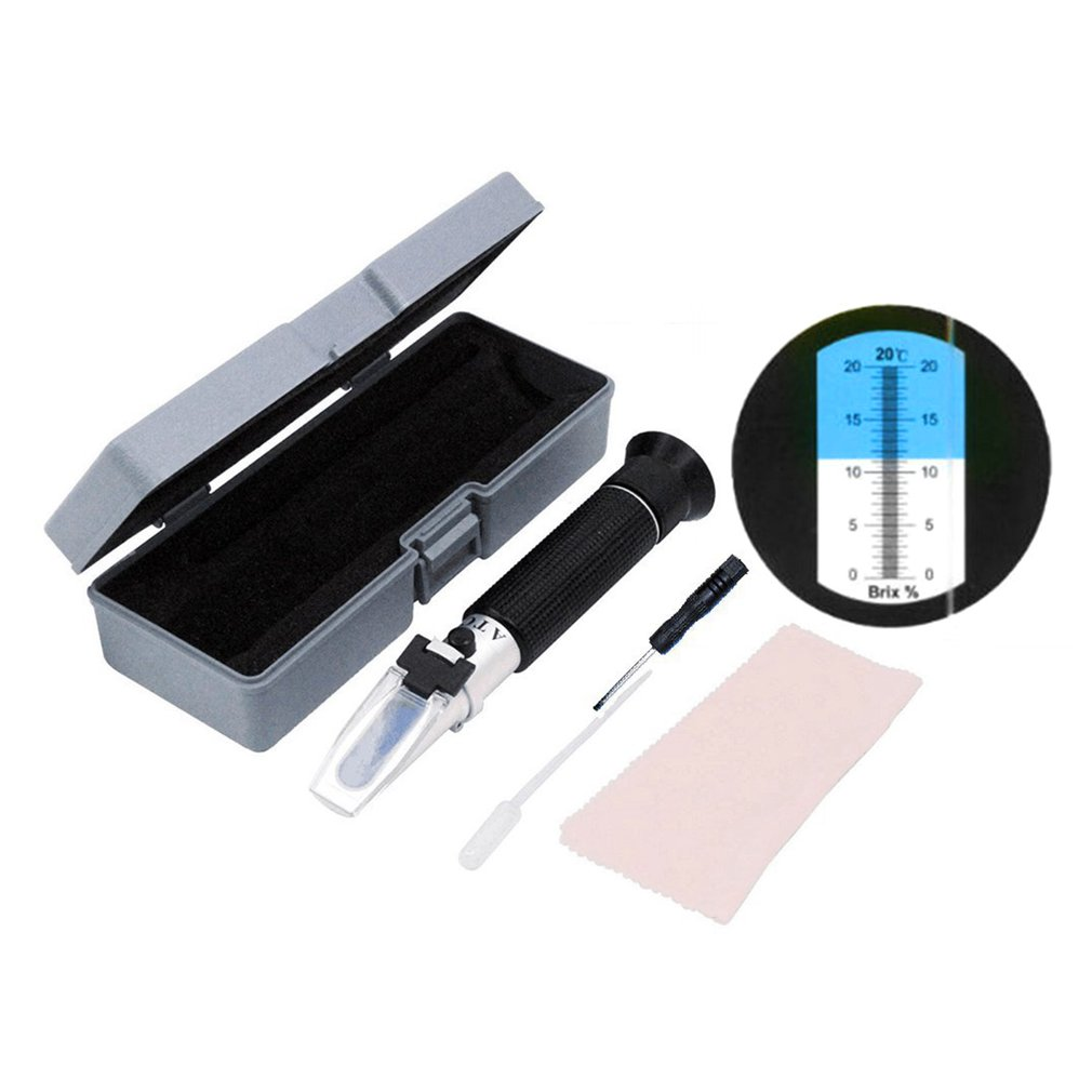 Handheld Solução de Açúcar Brix Refratômetro Cerveja de Mel Frutas Doçura Sacarímetro Refratômetro Fluido de Teste do Medidor de Concentração