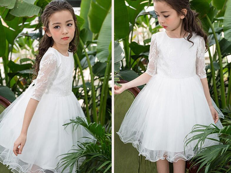 2017 Teenage Girls Dresses Baby Girl Evening Party Dress Children Summer Full Lace Princess Mother Daughter Dresses Kid Clothes