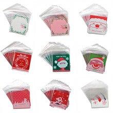 50 pces 10x10cm natal biscoito doces presente sacos de plástico auto adesivo biscoitos lanche sacos de embalagem decoração de natal favores