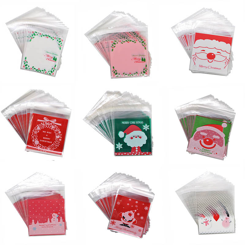 50pcs 10x10cm Christmas Cookie Candy Gift Bags Plastic Self-adhesive Biscuits Snack Packaging Bags Xmas Decoration Favors