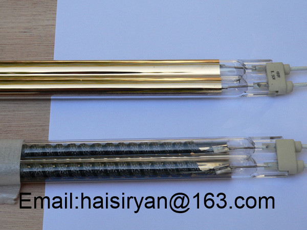 golden plated reflector carbon IR emitters quartz heater heating elements twin tube infrared lamps for sale