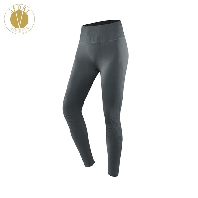 30bc8a648ddc Ribbed Seamless Compression Sports Leggings - Women s Yoga Run Running Gym  Workout High Rise Slimming Full Length Tights Pants