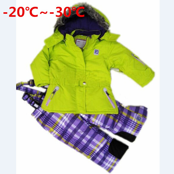Russian Winter Girls Ski Suit Windproof Outdoor Girls Ski Jackets+Bib Pants 2pcs Children Clothing Sets for2-9 years detector girl winter windproof ski jackets pants outdoor children clothing set kids snow sets warm skiing suit for boys girls