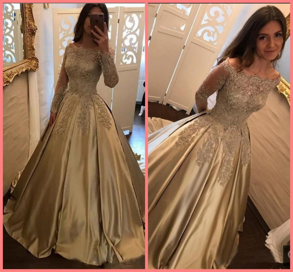 robe de bal longue Gold   Prom     dress   Long 2019 beaded sequins Plus size Satin Long Sleeves   Prom     dresses   Evening Party Gowns