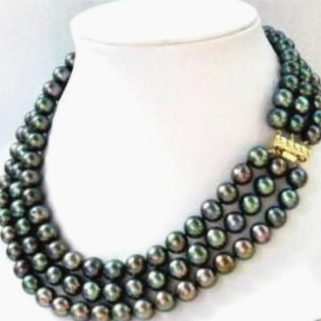 Hot sale elegant 3 rows necklace natural freshwater cultured 7-8mm black pearl pearl women chain party jewelry 17-19inch MY4145