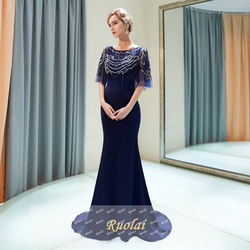 1ec7a3d6c0a robe de soiree Navy Blue Luxury Evening Dresses Long 2018 With Cape Heavy  Beaded Evening Gowns for Women Formal Party Dresses
