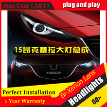 Auto Clud For Mazda 3 Axela xenon headlights 2014 2016 car styling bi xenon lens low