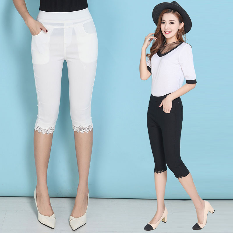 summer 2019 OL lace women's   pants     capris   with high waist pencil   pants   for women trousers woman   pants   female black Plus size 6XL