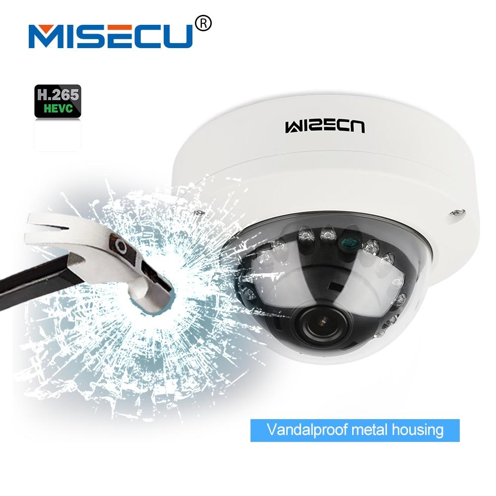 MISECU 2.8mm Vandalproof H265/H264 48V POE Camera 1080P 960P 720P Onvif P2P Motion Detect RTSP email alert Metal POE dome camera