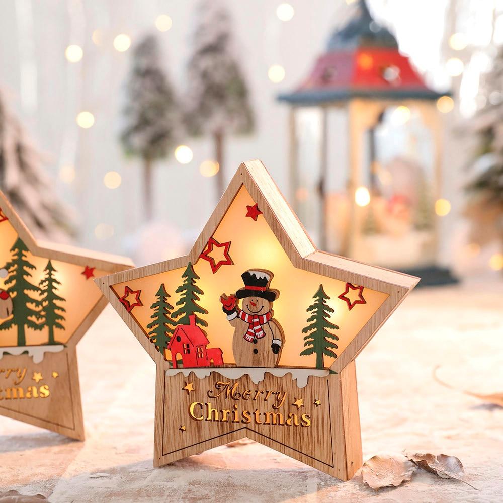 LED Light Cute Christmas Pentagram Ornaments Window ...