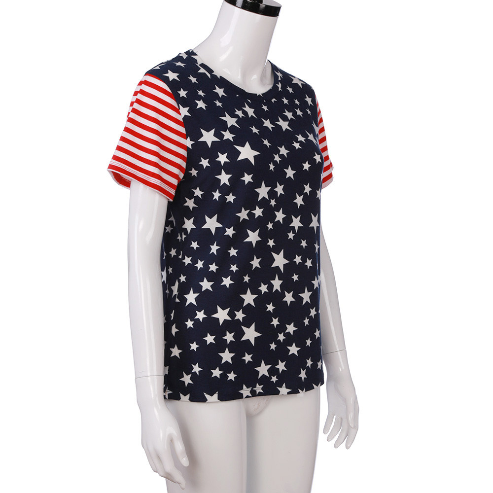 Design t shirt europe - 2017 Flag Women Tops Female T Shirt Fashion Short Sleeve O Neck T Shirt Cotton Europe And America Casual Clothes New Design