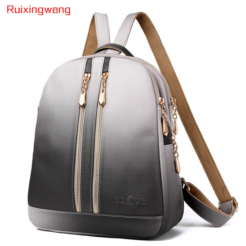 RUIXINGWANG 2018 Gradient Ramp Fashion Both Shoulders Woman Package Leisure Multi-function Anti-theft Backpack Waterproof биокамин silver smith mini 3 premium 1500 вт серый