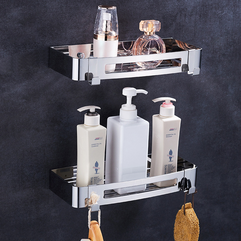 Deluxe Wall Mount Bathroom Shelves Mirror Polished 304 Stainless Steel Rectangle Shower Caddy Bath Storage Rack Accessories