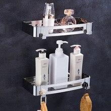 Estantes de baño de montaje en pared de lujo, espejo pulido, acero inoxidable 304, ducha rectangular, Caddy, almacenamiento de baño, accesorios