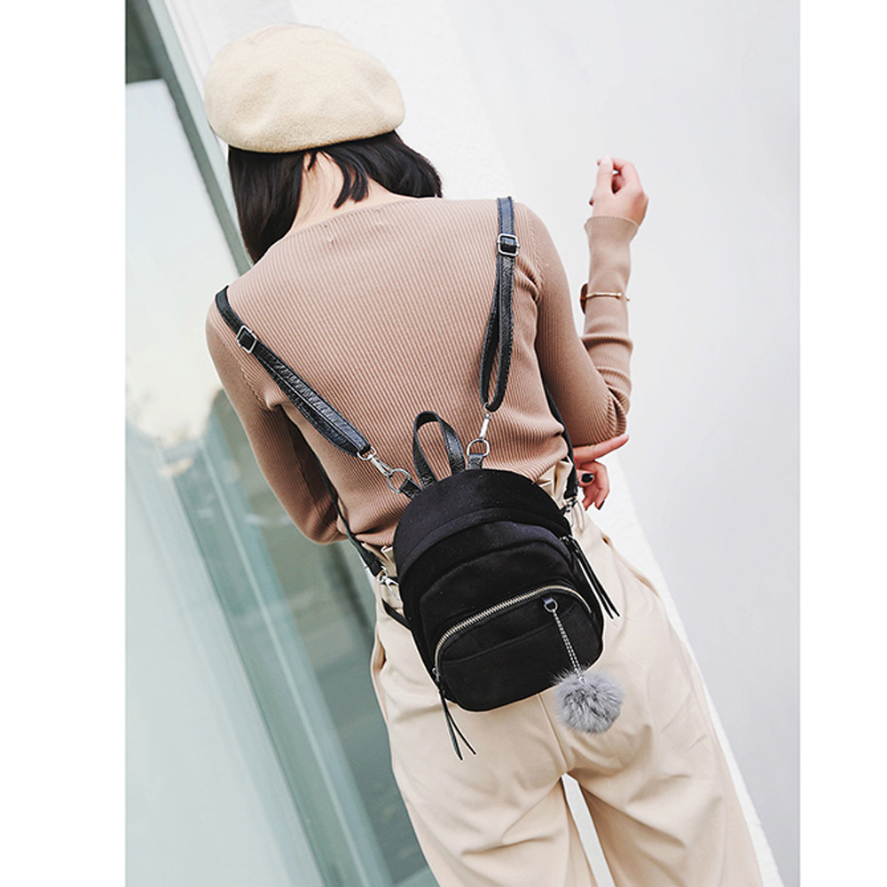 New Mini Fur Ball Backpack women Fashion Shoulder Bag Solid Women Girls School Bags super quality Mochila Feminina sac a dos