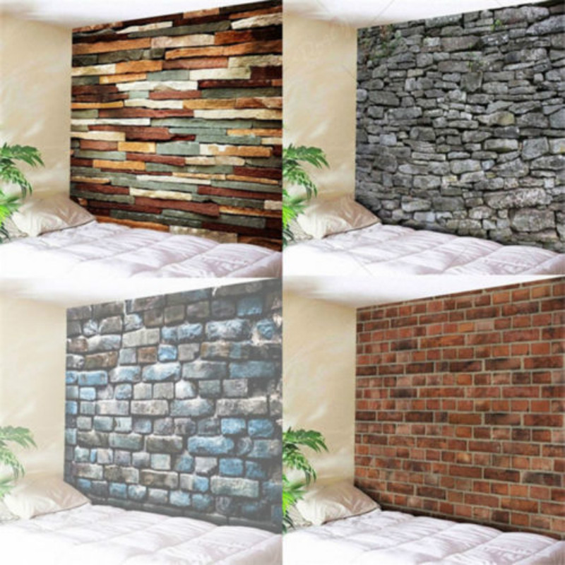 3D Stone Brick Decorative Tapestry Wall Hanging Tapestry Room Home Decoration