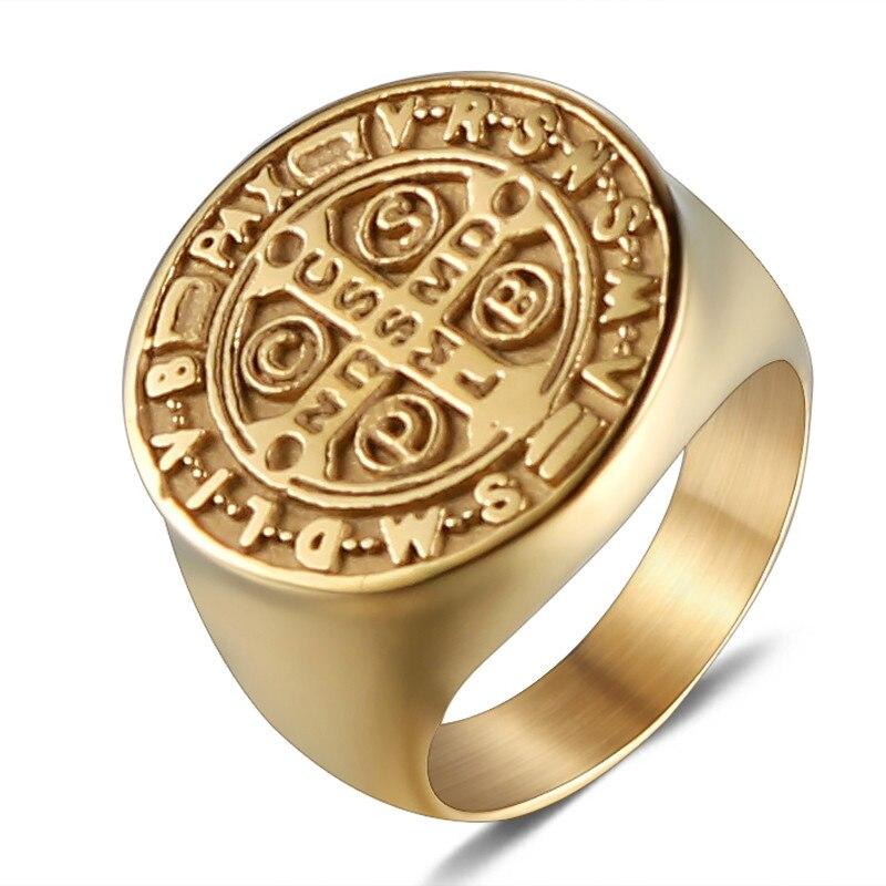 Olowu, простое, полированное, широкое, круглое, большое кольцо, золото, нержавеющая сталь, крест, кольцо для мужчин, ювелирное изделие, подарок, винтаж - Цвет основного камня: Gold
