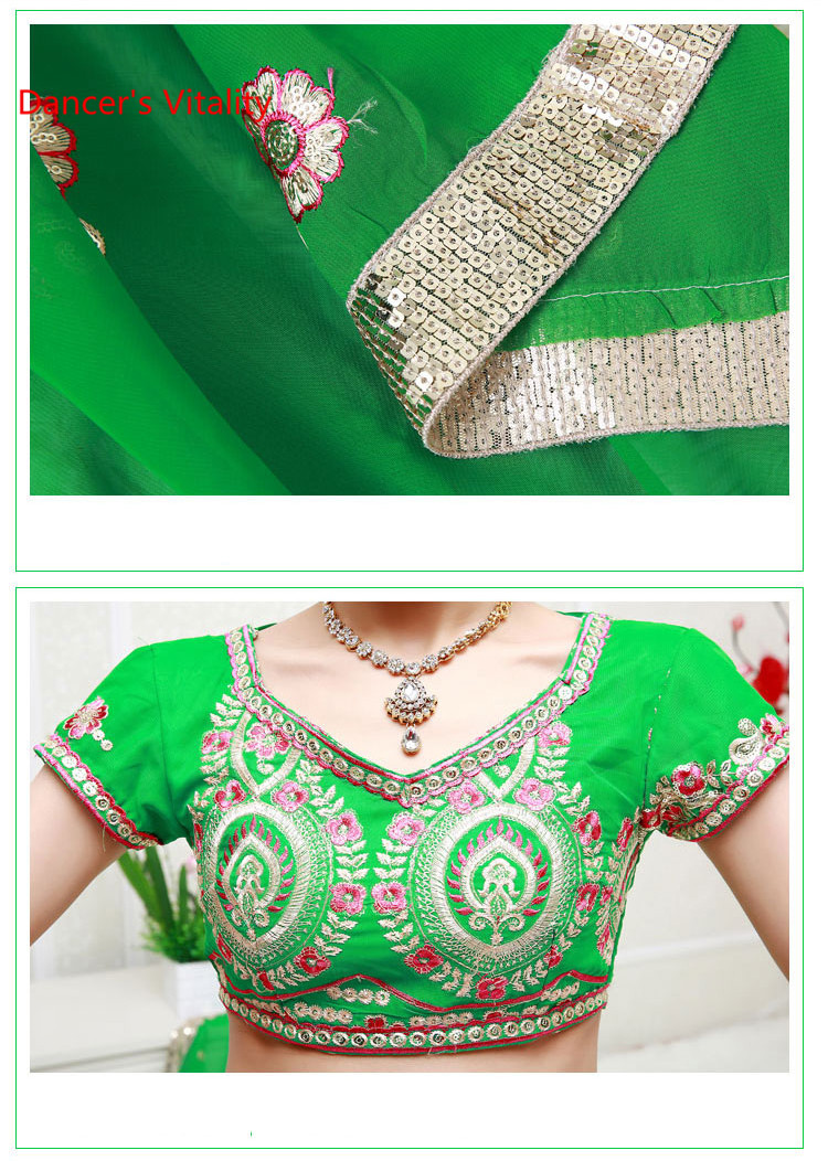 2018 Handmade Embroidery Luxury Belly Dance Costumes Women Belly Dancing Indian Dance Performance Competition Clothing Suits