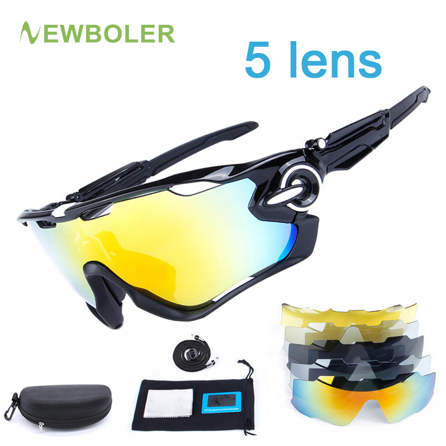 NEWBOLER 5 Lens Cycling Glasses Polarized Racing Sport Sunglasses Men TR90 UV400 Cycling Eyewear Bike Bicycle Goggles