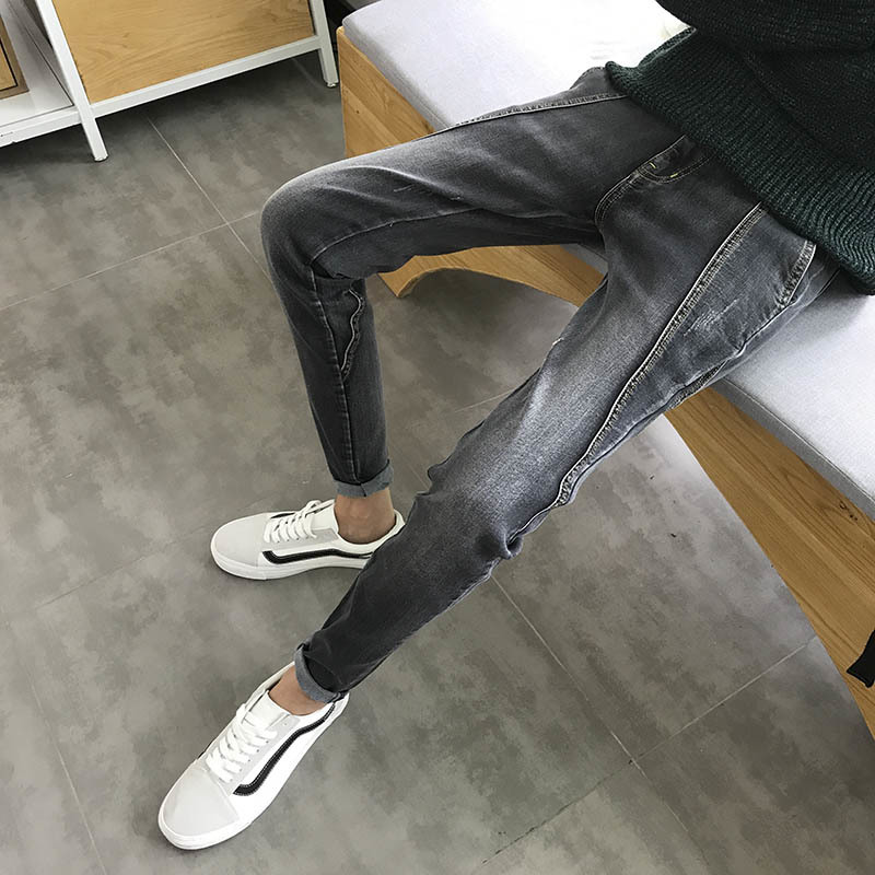 2018 Spring And Summer New Mens Slim Long Pure Jeans Leisure Simple Wild Fashion Stretch Pencil Pants Street Trend