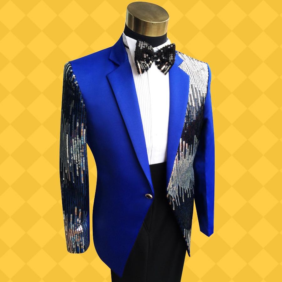 2017 Sexy Singer's Sequined Costume Suit Plus Size Palette Sequins Suits Light Slim Show Costumes For Men Promotion