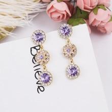 2018 Luxury Rhinestone Multicolor Flower Long Drop Earrings For Girls Women Elegant Korean Wedding Party Accessories EC798