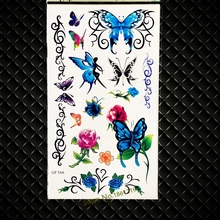 Blue Fake Flash Temporary Tattoo Butterflies Women Girls Makeup Henna Tattoo Paste Papillon Flash Tatoo Bracelet Baby Girls GIft